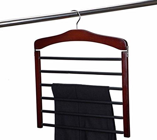Amber Home Hardwood 6 Tier Swing Arm Slack Rack Trouser Hanger Multi Slack Hanger Multi Pant Hanger with Chrome HookCherry Color Pack of 1