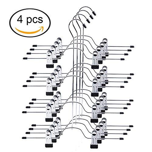 Tosnail 4 Pack 4 Tier Trouser Skirt Hanger - Non Slip Black Vinyl Clips Great Space Saver for Your Closet