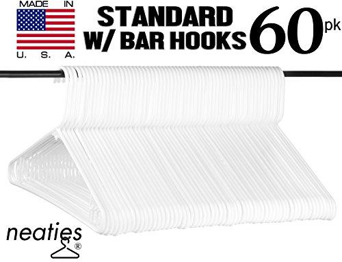 Best White Plastic Clothes Hangers w Bar Hooks USA Made Long Lasting Tubular Adult Hangers Set of 60