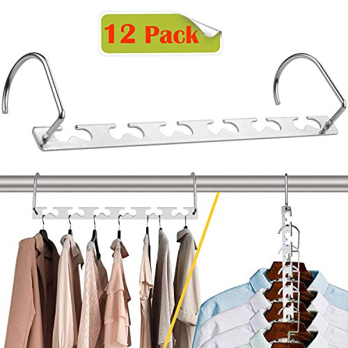 CBTONE 12 Pack Closet Space Saving Hangers Multi-Purpose Metal Magic Hangers Cascading Hanger Updated Hook Design Metal Hangers for Organizing Wardrobe Clothing Hanger