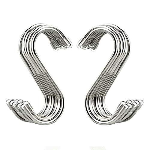 Evob 20 Pack 34 S Shaped Hooks Stainless Steel Metal Hangers Hanging Hooks for Kitchen Work Shop Bathroom Garden