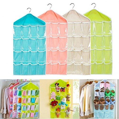 Louyue Closet Door Hanging Organizer with Rotating Metal Hanger Mesh Pockets and Dual Sided Wall Shelf Wardrobe Storage Bags for Bra Sock Shoe Jewelry Gadget
