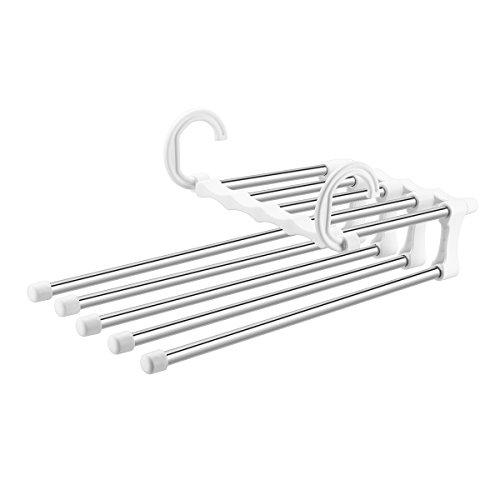 5 in 1 Stainless Steel Pants Hanger Closet Organizer Space Saving Hangers Multiple Metal Joist Trousers Hangers