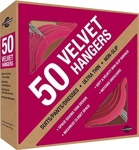 Closet Complete Premium Heavyweight Velvet Suit Hangers – Ultra-Thin Space Saving No-Slip Best For Dresses Suits Shirts - GOLD HOOKS Fuchsia Set of 50