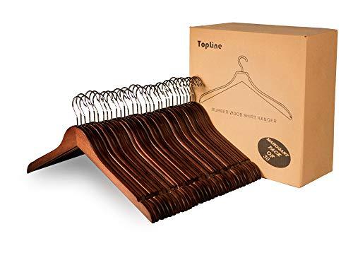Topline Classic Wood Shirt Hangers - Mahogany Finish 30 Pack