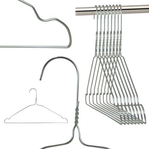 Hangerworld Pack of 50 Galvanised Plain Silver Wire Metal Coat Hangers - Notched - 41cm 16