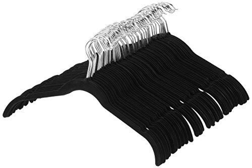 AmazonBasics Velvet Shirt Dress Clothes Hangers 100-Pack Black