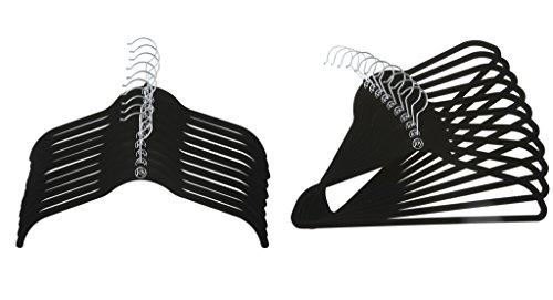 Joy Mangano 24 Pk SuitShirt Huggable Hangers Black