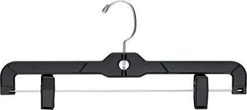 The Great American Hanger Company Matte Black Plastic Bottom Hanger Box of 100 Space Saving Hangers w 360 Degree Nickel Swivel Hook for Skirt and Pants