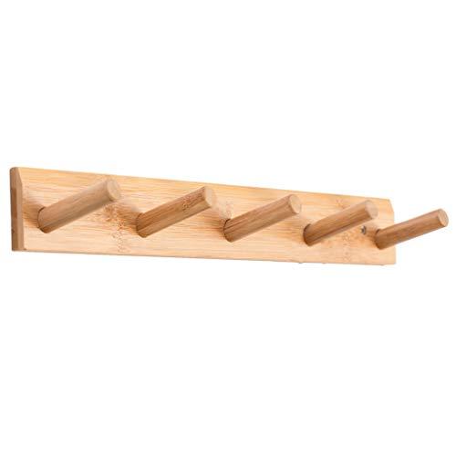 Wall Mounted Hook RackSINMON Bamboo Coat Hangers Rack Robe Hat Clothes Hook Wall Towel Purse Coat Rack Hook Rail Bathroom Entryway Bracket189x 24 x06【Ship from USA】 Wood