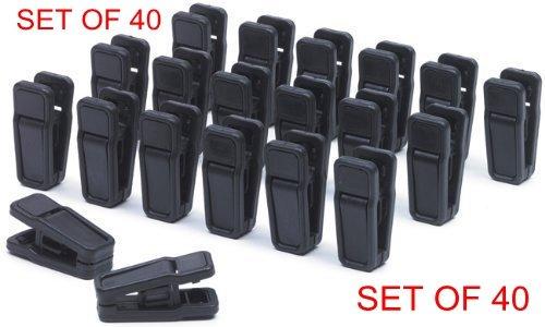 HOMEERR P1638071 Plastic Clips for Flocked Garment Trouser Hangers Plastic Slim-line Finger Clip Black Plastic Clips for Hangers Black Velvet Pants Hanger - RemovableBlackSet of 40