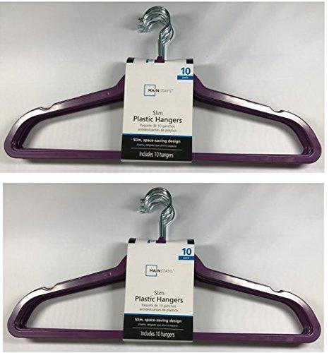 Mainstays 10 count Slim Plastic Hangers - Exotic Purple 2-Pack