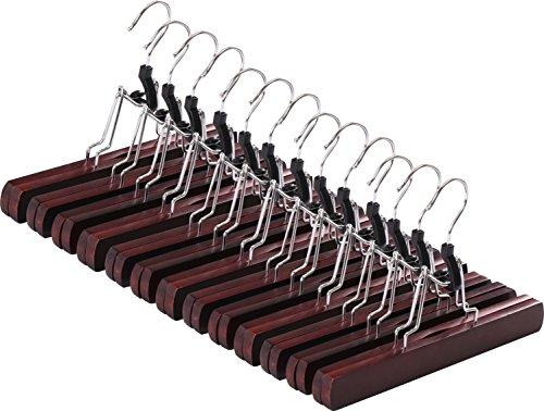 Non-Slip Wooden Hanger - Slack Hanger - Wood Skirt Hangers - Pack of 12 by Utopia Home Walnut Finish
