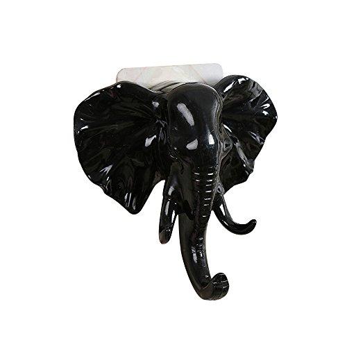 Self Adhesive Hooks,ASOBIMONO Sticky Wall Hangers WhiteBlack Elephant Head Coat Rack Funny Utility for Hanging ClothesTowelKeysBags Black