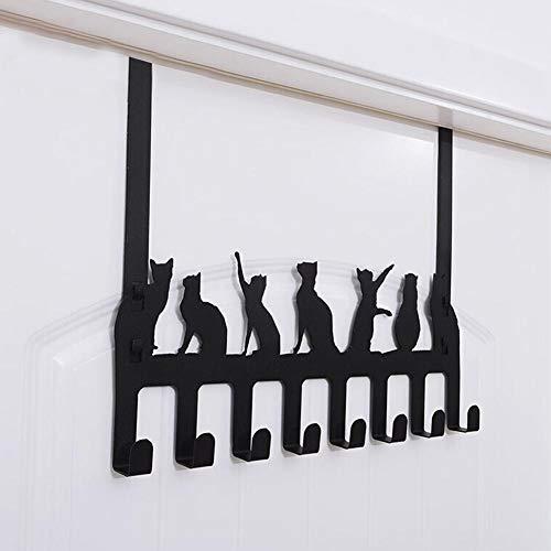 Xeroy 2 in 1 Over The Door Hook Hanger Rack Self-Adhesive Hook with 8 Hooks Cute Cat Black Coat Hanger Towel Rack Punch Free Wall-Mounted Holder Hanger Hooks Decor Popular