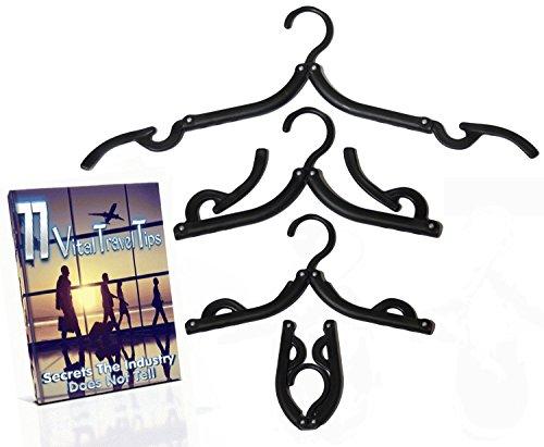 A1PP Folding Plastic Black Hangers 8 Pack - Travel Clothes Dress Hangers – BONUS 77 Secret Travelers Tips Ebook - For Laundry Centers Drying Racks Cruise Ships – Foldable Lightweight