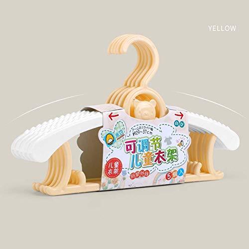 XuBa 5pcs Children Coat Hanger Adjustable Nonslip Hanger for Closet Storage Yellow Yellow - Bear 1 5Pcs