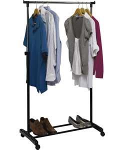 Convenient  Multipurpose Chrome Plated Clothes Tidy Rail  Shoe Storage Rack - Black by Clothes Hanger  Hooks