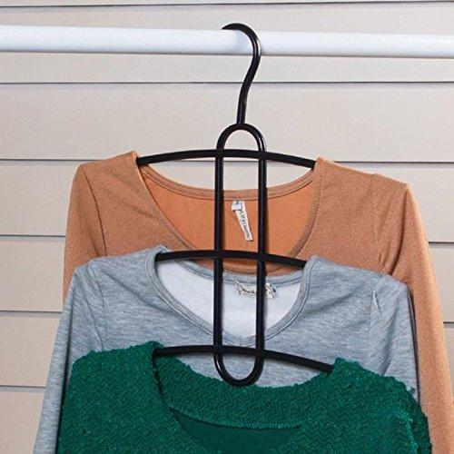 Standard Hangers Closet Clothes Garment Organiser Multi-tier Shelf Laundry Hanger Holder Storage Iron Color Black 1 Pcs