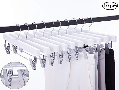 Cocomaya 14 Inch Luxury White Solid Wooden Skirt Hanger Pants Hangers Bottom Hanger Jeans Hanger Skirt Hanger with Anti-Wrinkle Clips Pack of 10 White Color 10