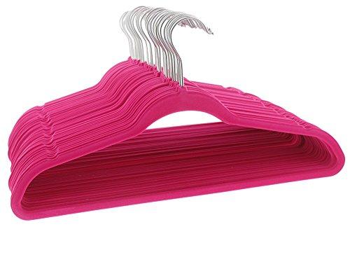 Hot Pink Velvet Hangers - No Slip Flocked Hangers - Ultra Thin Clothing Hangers for Pants Blouses Dresses - 50 Count