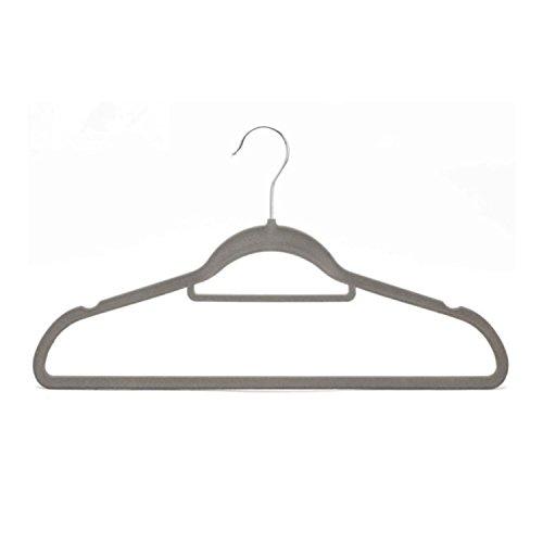 JCJTECH 10 Pack Non Slip Velvet Slim Strong Flocked Clothes Suit Hangers Space Saving with 360 Degree Swivel Hook Gray