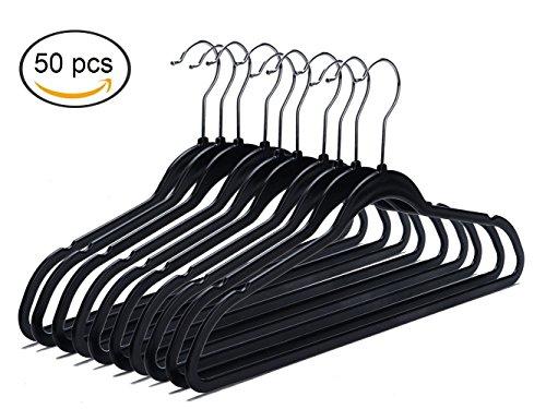 Quality Plastic Non Velvet Non-Flocked Spacemaker Hangers Black - 50