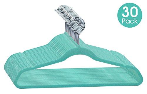 ESYLIFE 30 Pack Kid Velvet Hangers Ultra Thin Non Slip Children Clothes Hangers Mint Green