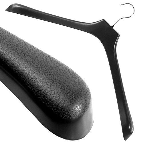 Hangerworld Pack of 5 Extra Wide Strong Black Plastic Clothes Jacket Coat Hangers 50cm 197 in - 55cm Wide Shoulder Support