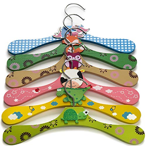 Booba Baby Kids and Baby Wooden Colorful Animal Shaped Clothes Hangers 6 Pcs Set