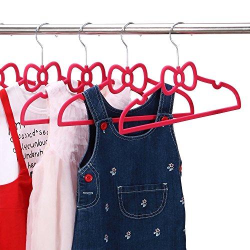 Ollieroo Children Size Flocked Velvet Kids Hangers Super Slim No Slip Non Wrinkle with U Notch Shoulder 30PK Bowknot Shape Pink