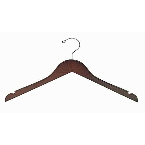 Flat Petite Size Wooden Dress Hangers Walnut Chrome 50 pk