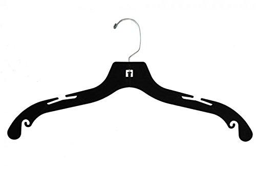 NAHANCO FLK2508 Plastic Shirt Hanger Flocked with Notches 17 Black