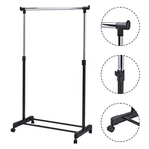 New Adjustable Rolling Garment Rack Heavy Duty Clothes Hanger Portable Rail Rack
