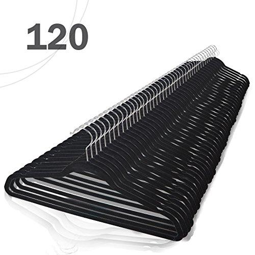 Voilamart 120 Pack Black Velvet Hangers - Heavy Duty Ultra Thin Non Slip Space Saving for Men Women Dress Suit Coat Pant Clothes Hanger Closet Organizer