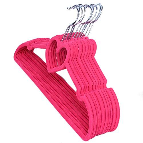 10 pcs Sturdy Slim Lightweight Clothes Hanger Non-Slip Clothing Hanger Heart-shaped Velvet Coat Hanger for Space Saving Shirts Pants Blouses Scarves Coats Red