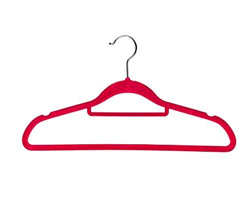 BriaUSA Velvet Coat Hangers Multi-Purpose Set of 10 Pink Notched Shoulders Tie Rack Swivel Hooks