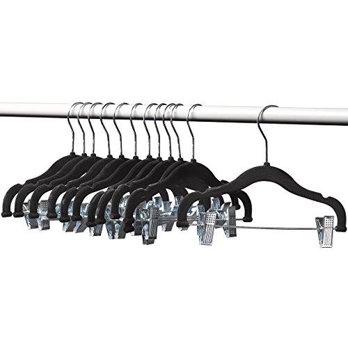 Home-it 12 PACK baby hangers with clips BLACK baby Clothes Hangers Velvet Hangers use for skirt hangers Clothes Hanger pants hangers Ultra Thin No Slip kids hangers