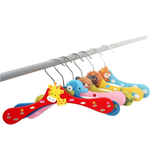 HuaYang Cute Cartoon Animal Wardrobe Wooden Baby Childrens Clothes Hanger Coat RackRandom Color 1 Pcs