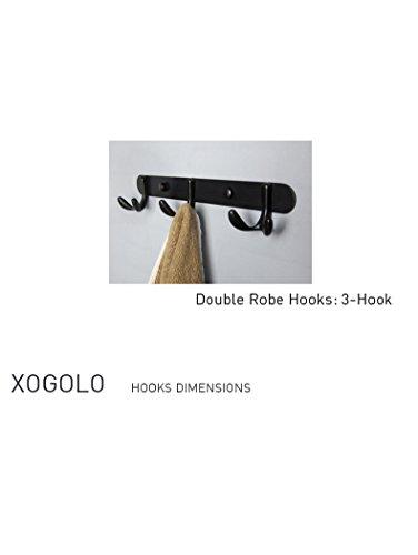 Xogolo Home Classic Hook Coat Rack Bathroom Robe Towel Hook  3 Double Robe Hooks  Brown Finish  Hat Hanger