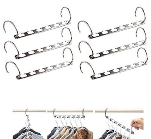 NEW 6 PACK Clothes Closet Space Saver Hanger Metal Organizer Rack Storage Wardrobe