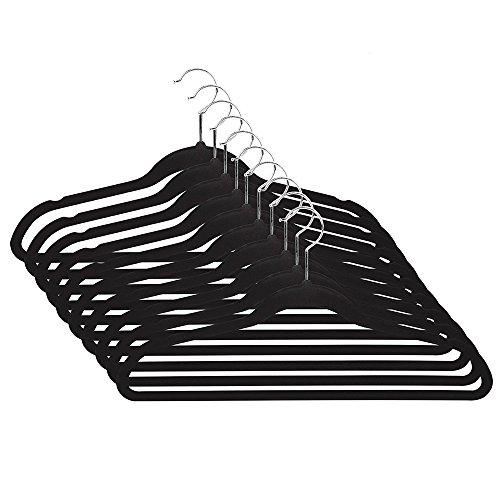 Premium Quality Space Saving Velvet Hangers- 360 Degree Chrome Swivel Hook- Ultra Thin Non-Slip Suit Hangers- 50 Pack Black