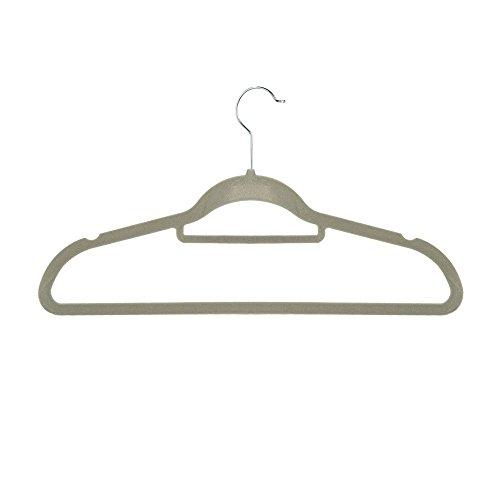 Premium Velvet Hangers- 50 Pack- Heavy Duty- Nos-Slip- Velvet Suit Hanger with Tie Bar- 360 Degree Hook Space Saver Elegant Beige