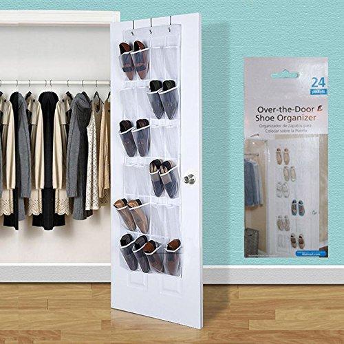 Shoe Door Over Rack Hanging 24 Organizer Storage Pocket Saver Space Hanger Pockets Closet Holder Clear Wall Bag