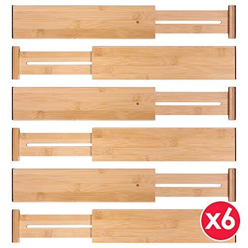 Set of 6 Adjustable Bamboo Drawer Dividers Dresser Separators Organizer for Bedroom Bathroom Closet Baby Drawer Office Desk Kitchen Storage