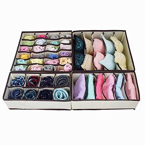 Homyfort Foldable Dresser Drawer Organizer Dividers Fabric Closet Storage Organizers for Underwear Bras SocksDresserSet of 4 Beige