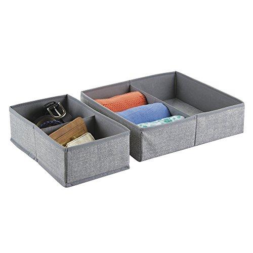 InterDesign Aldo Fabric Dresser drawer Storage Organizer for Underwear Socks Bras Tights Leggings - Set of 2 4 Compartments Gray