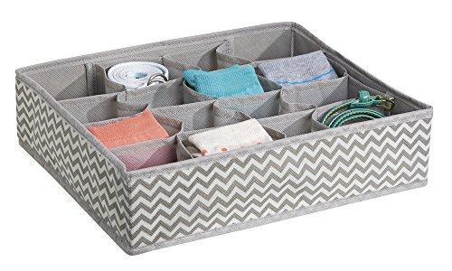 mDesign Chevron Fabric Dresser Drawer Storage Organizer for Underwear Socks Bras Tights Leggings - 16 Compartments TaupeNatural