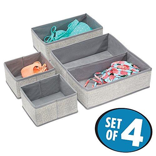 mDesign Fabric Dresser Drawer Storage Organizer for Underwear Socks Bras Tights Leggings - Set of 4 5 Compartments Gray