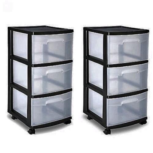 3 Drawer Organizer Cart Black Plastic Craft Storage Container Rolling Bin Set 2 New by WW shop